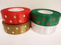 25mm Metallic Polka Dot Satin ribbon, 2 or 20 metres Red with Gold spots